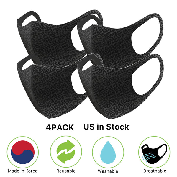 [BLACK] Set of 4 Graphene Phytoncide 3D Korean Fashion Face Mask