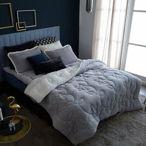 NATURE DREAM FLEECE COMFORTER KING SIZE SET- DEEP BLUE/PURE GRAY