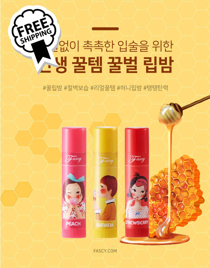 FASCY LOLLIPOP LIP BALM 3 FLAVOR SET (BANANA + PEACH + STRAWBERRY) 파시 롤리팝 립 밤 3종 SET