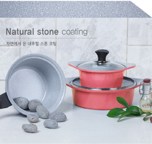 ECORAMIC STONE POT SET (BLUE/PINK)