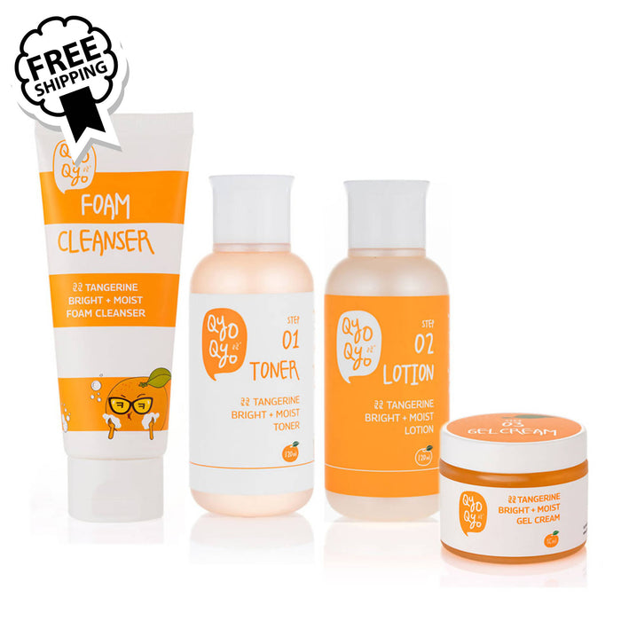 Qyo Qyo Tangerine Foam Cleanser + Toner+ Lotion + Gel Cream 쿄쿄 기초 4종 세트