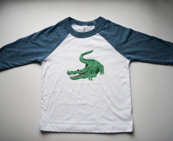 Crocodile Toddler Baseball Tee