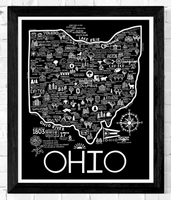 Black and White Map of Ohio 8x10
