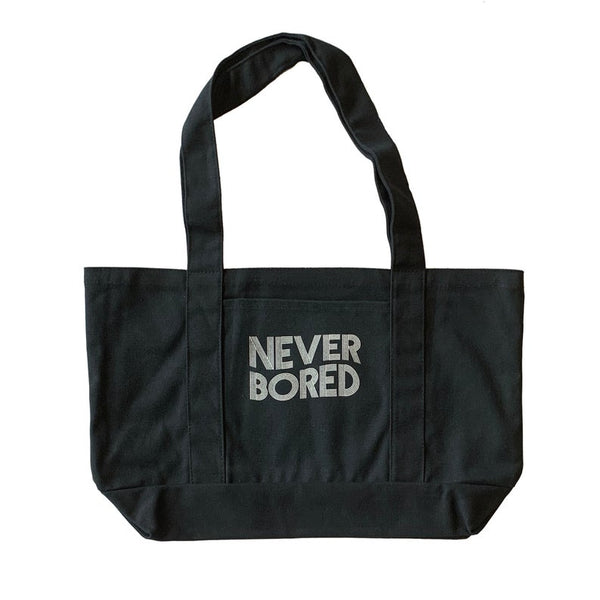 Never Bored Black Boat Tote Bag