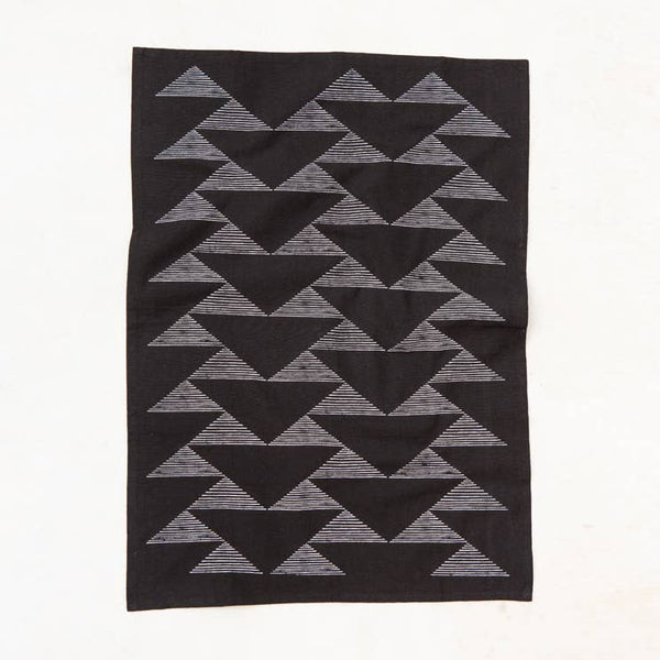 Triangles Kitchen Towel - Black