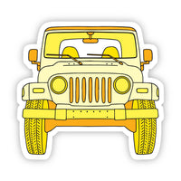 Yellow Jeep Front Aesthetic Sticker