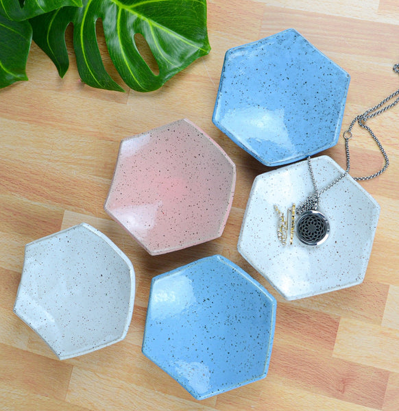 Maker's Mart :: Ice + Dust Pottery – Hexagon Trinket Dish, White
