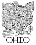 White and Black Map of Ohio 8x10