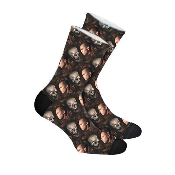 Custom Halloween Skull Face Socks Photo Socks - Make Custom Gifts