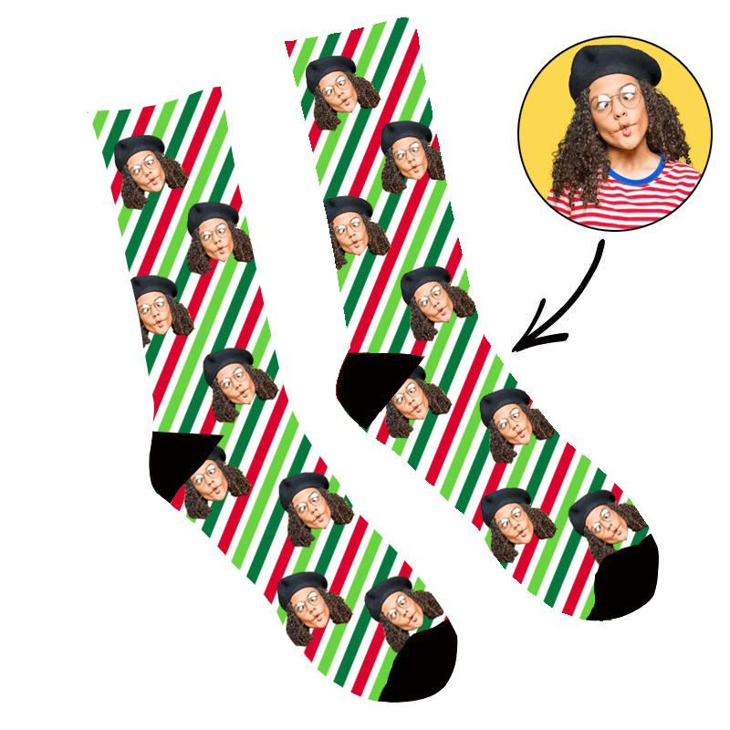 Custom Face Socks Christmas Stripes Socks - Make Custom Gifts