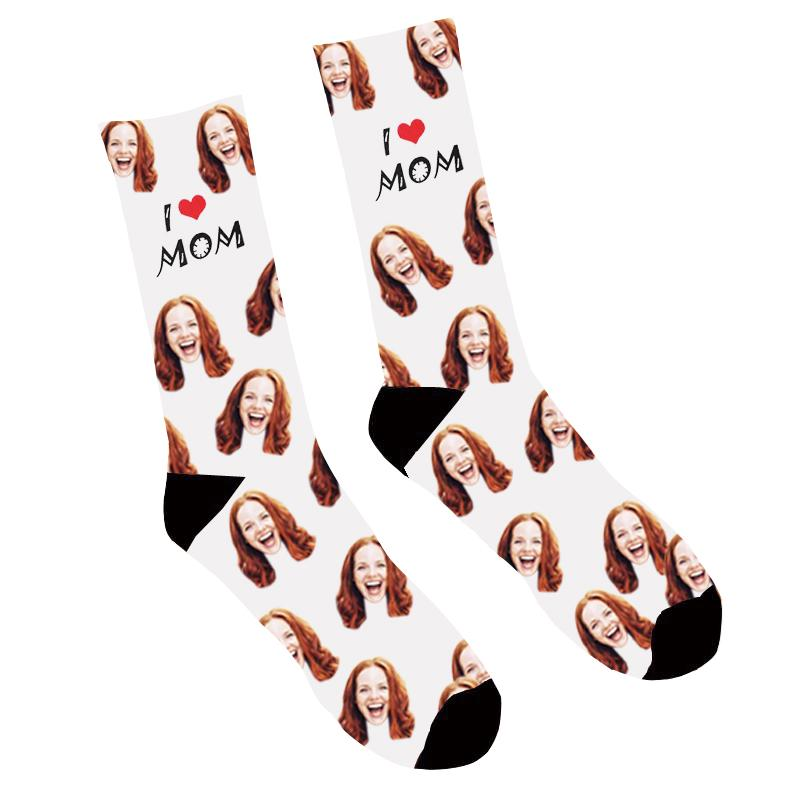 Custom Photo Socks I Love Mom