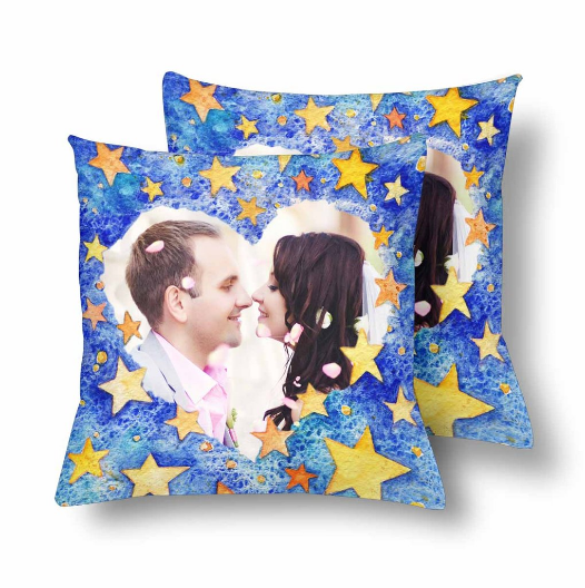 Custom Couple Love Heart Star Photo Pillow - Make Custom Gifts