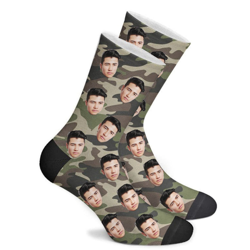 Custom Camouflage Color Face Socks Photo Socks - Make Custom Gifts