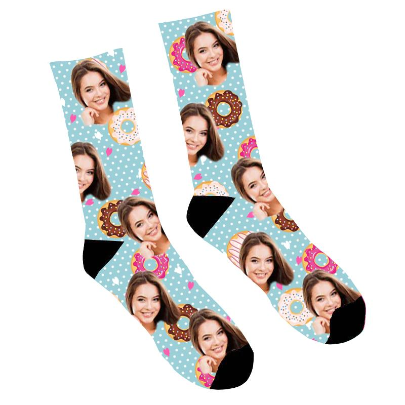 Custom Photo Socks Cute Donuts Socks
