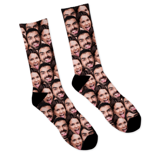 Custom Face Socks Christmas Candy Cane Socks