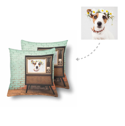 Custom Dog Vintage TV Photo Pillow - Make Custom Gifts