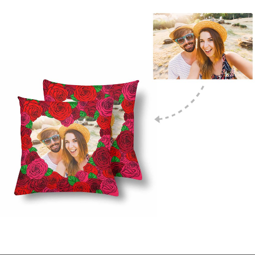 Custom Couple Rose Photo Pillow - Make Custom Gifts