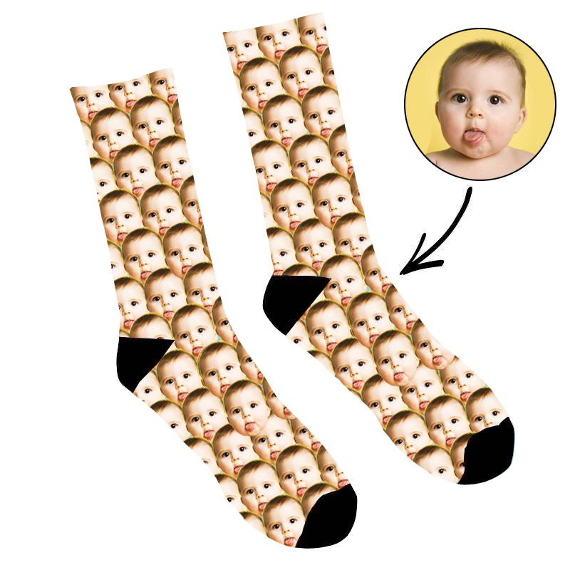 Custom Photo Socks Mash Baby Face