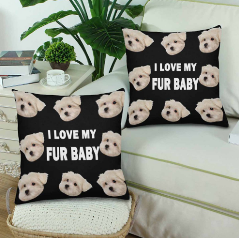Custom I Love My Fur Baby Photo Pillow - Make Custom Gifts