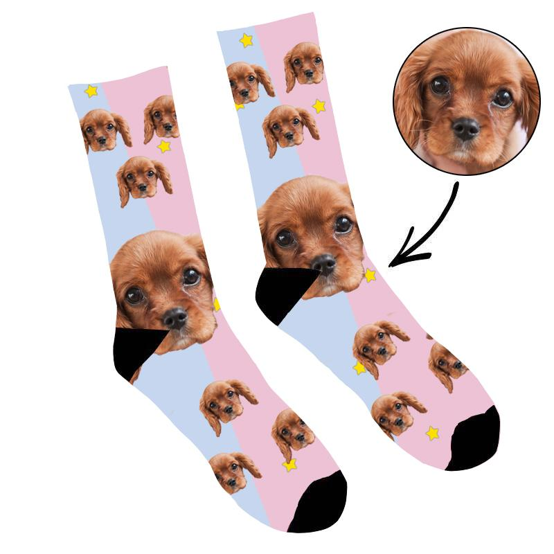 Custom Photo Socks Pink Dog Face