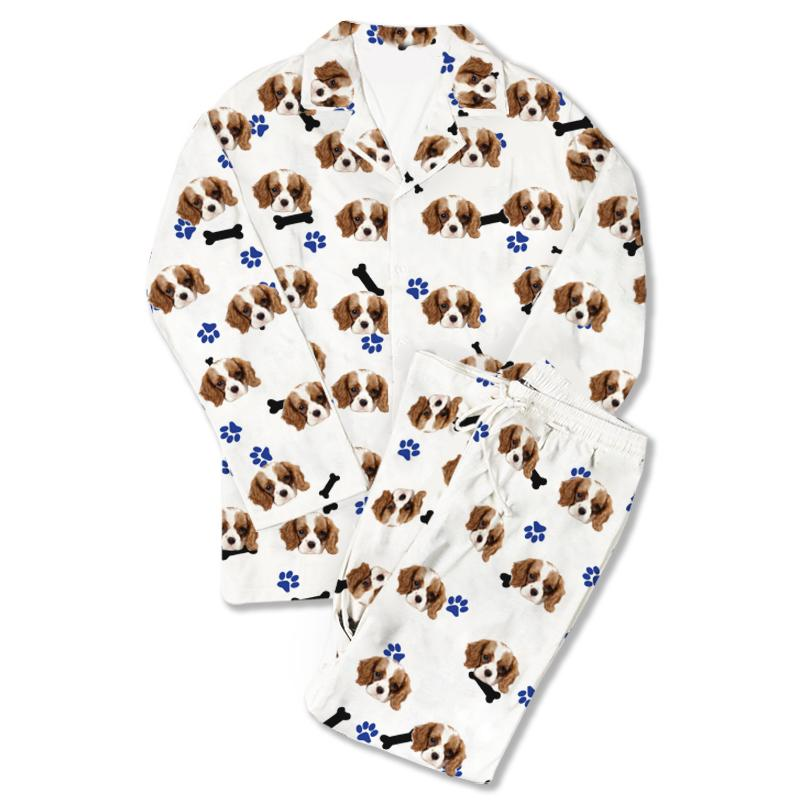Custom Photo Pajamas Dog Footprint White