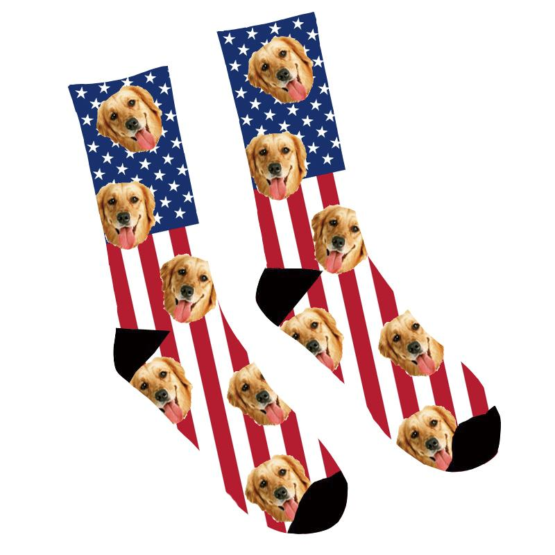 Custom Photo Socks American Flag