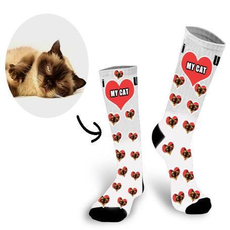 Custom Lovely Cat Face In The Heart Face Socks - Make Custom Gifts