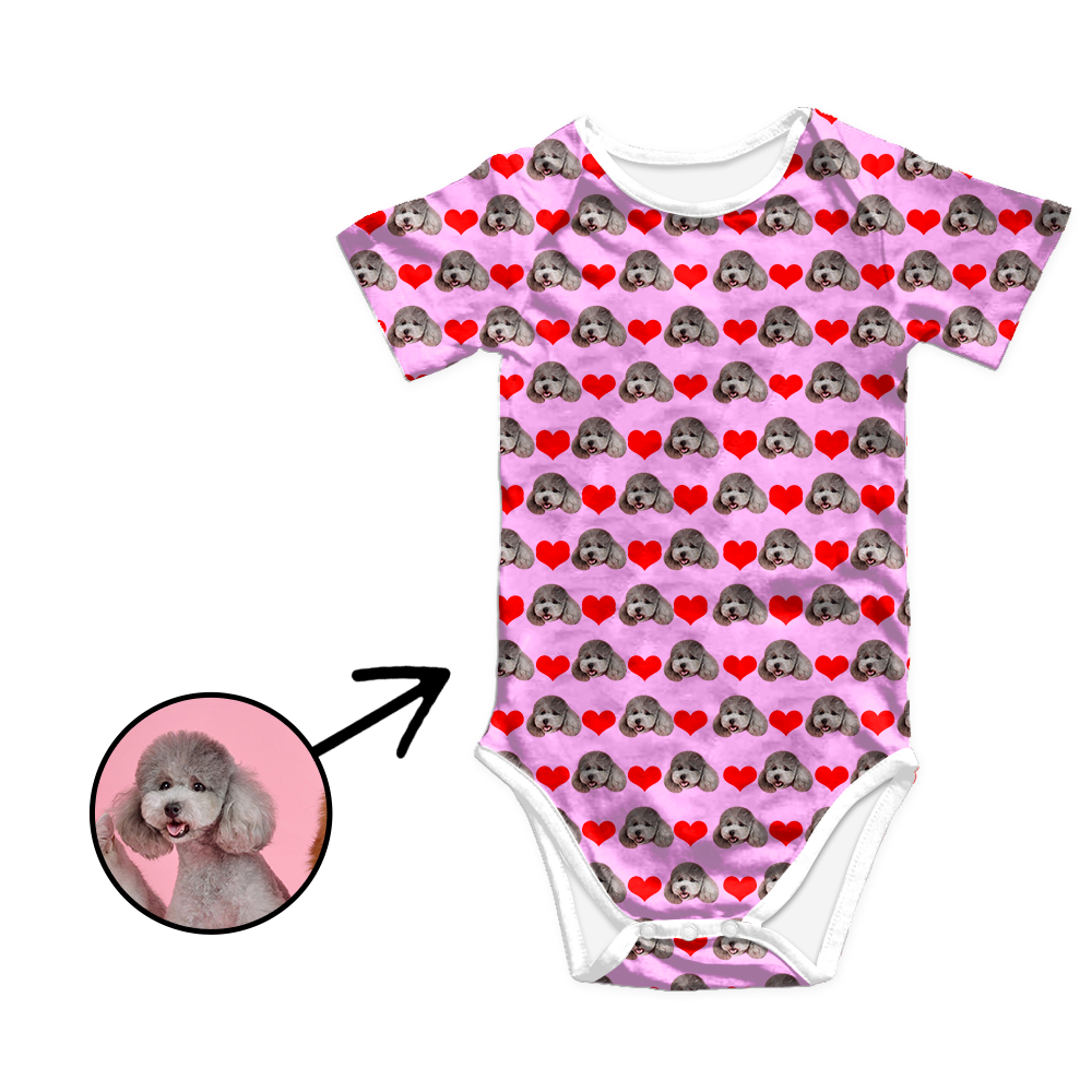 Custom Photo Baby Bodysuit Heart I Love My Dog