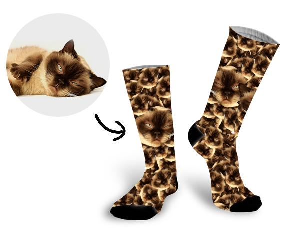 Custom All Cat Face Socks Photo Socks - Make Custom Gifts