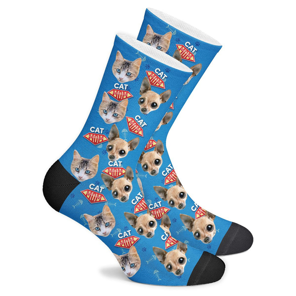 Custom Cat Super Mom Face Socks Photo Socks - Make Custom Gifts