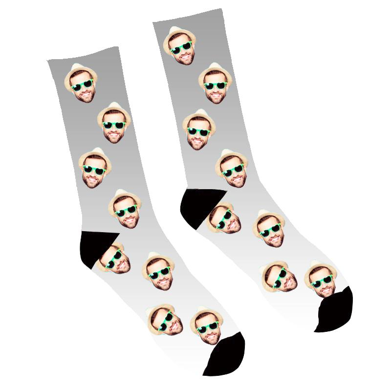Custom Face Socks Gradient  Grey