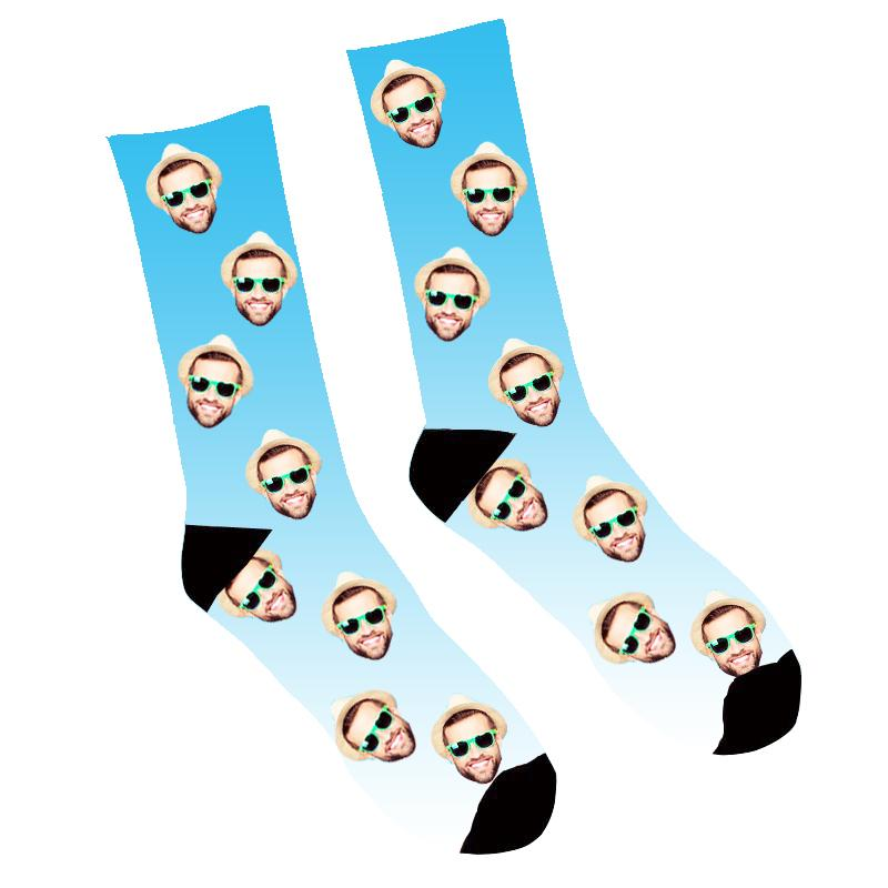 Custom Face Socks Gradient Blue