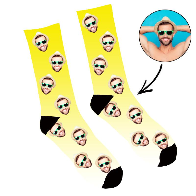 Custom Face Socks Gradient Yellow