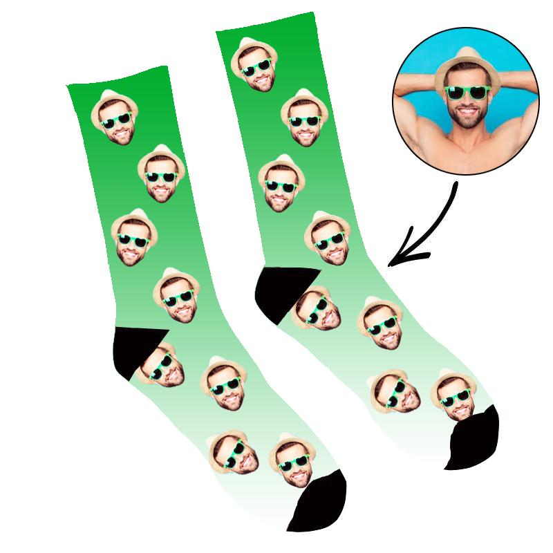 Custom Face Socks Gradient Green