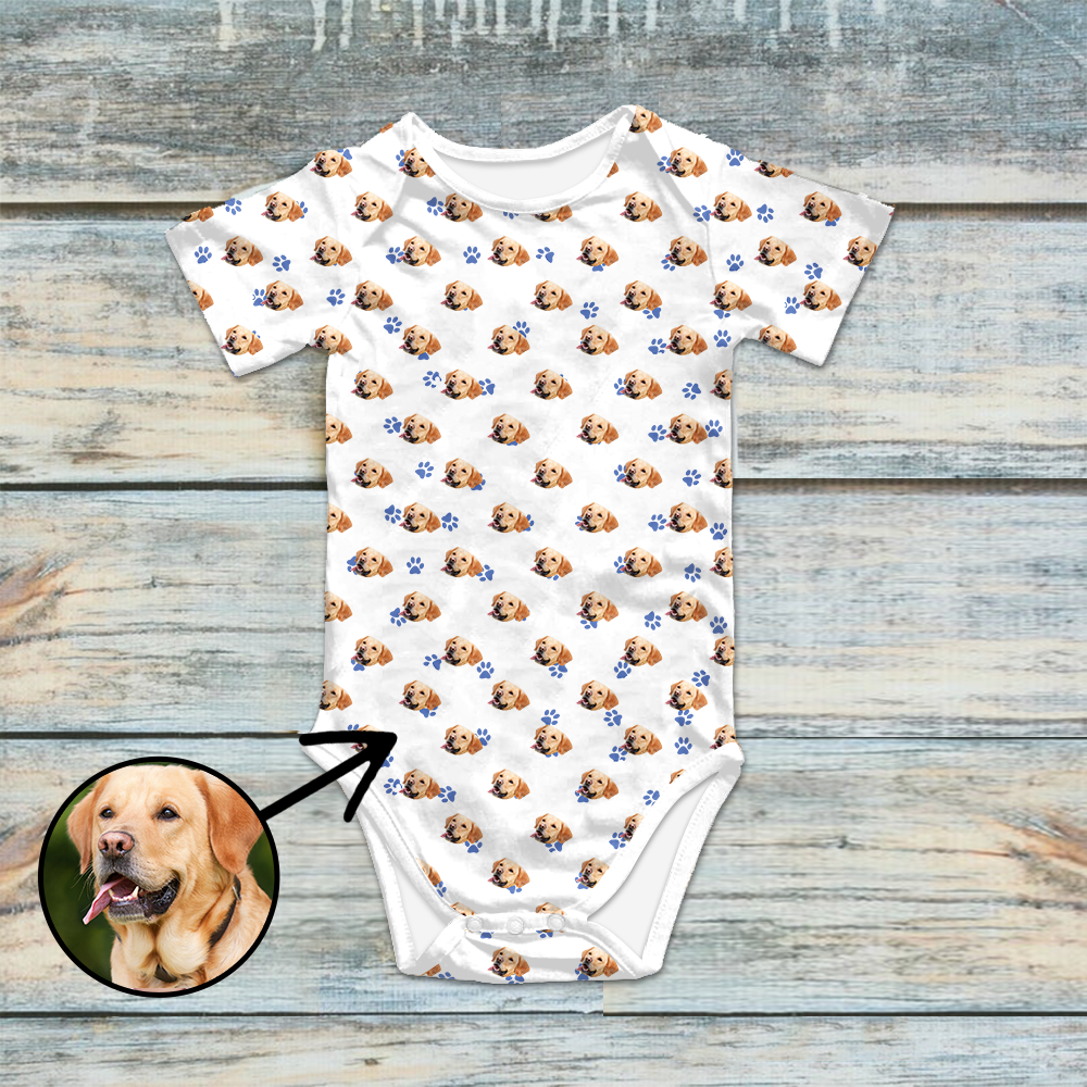 Custom Photo Baby Bodysuit Dog Footprint