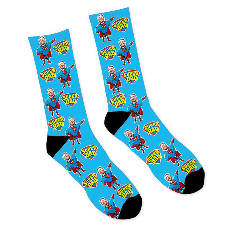 Custom Face Socks Super Hero Dad Photo Socks