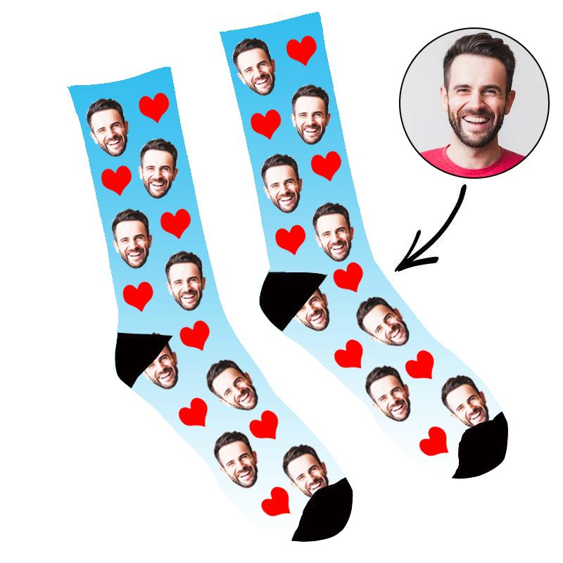 Custom Face Socks Gradient Heart Blue