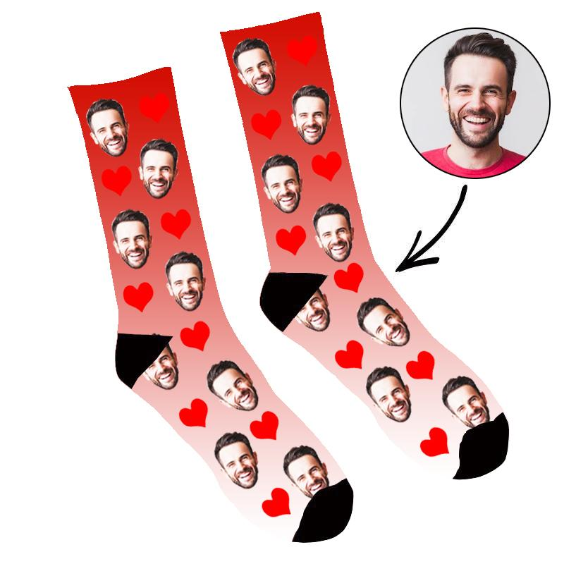 Custom Face Socks Gradient Heart Red