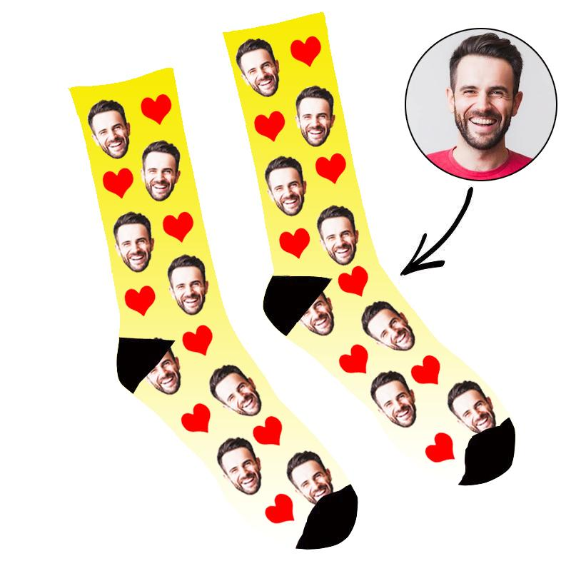 Custom Face Socks Gradient Heart Yellow