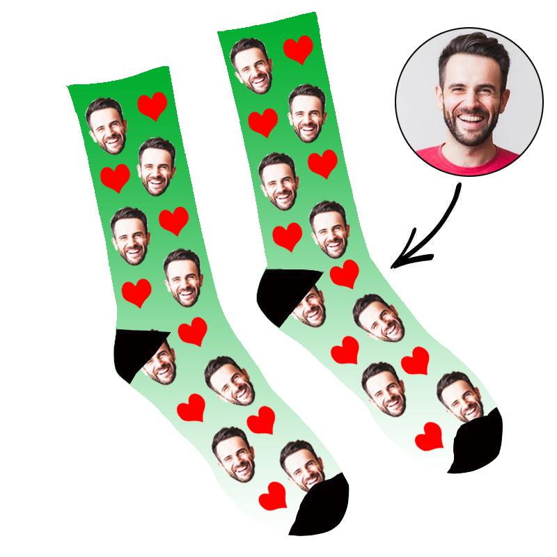 Custom Face Socks Gradient Heart Green