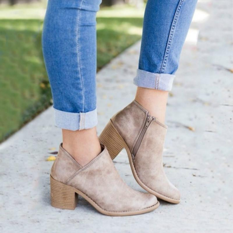 b9ce513cf057 Side Zip Chunky Booties Low Heel Closed Toe Faux Stacked Ankle Boots -  fashionshoeshouse