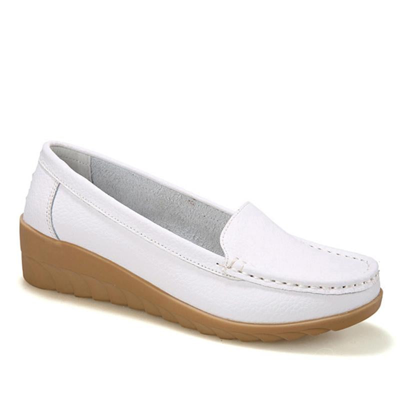 1880222bcbf Medium Heeled Non-slip White Flats Soft Flat Shoes for Driving - Ustyle