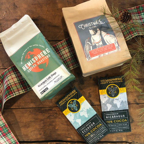 Premium Coffee & Chocolate Gift Set | 2-12oz. bags and 2 Chocolate Bars