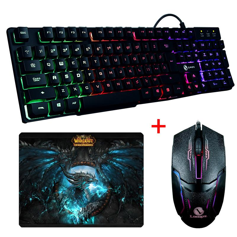 Wired Backlit GTX300 illuminated Multimedia Ergonomic USB Gaming Keyboard with Optical Gaming Mouse Sets and World Of Warcraft Mouse Pad - Get It Gamer