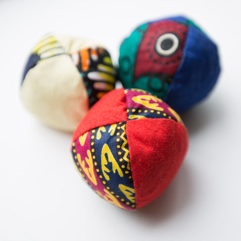 Juggling balls hand sewn by widows in Kenya.