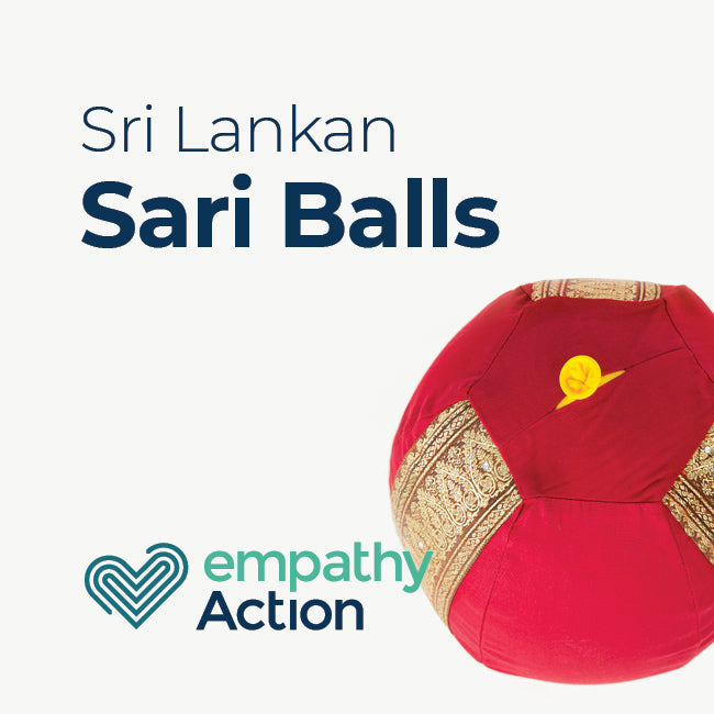 Inflatable sari balls created by rescued homeless women in Sri Lanka.