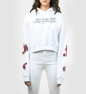 Solid Rose Crop Fleece Hoodie