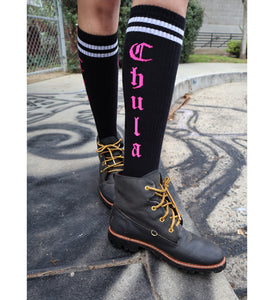 Chula Socks - Black / Pink