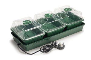 EarlyGrow 3-Bay Heated  Windowsill Propagator with Capillary Mat and Tray