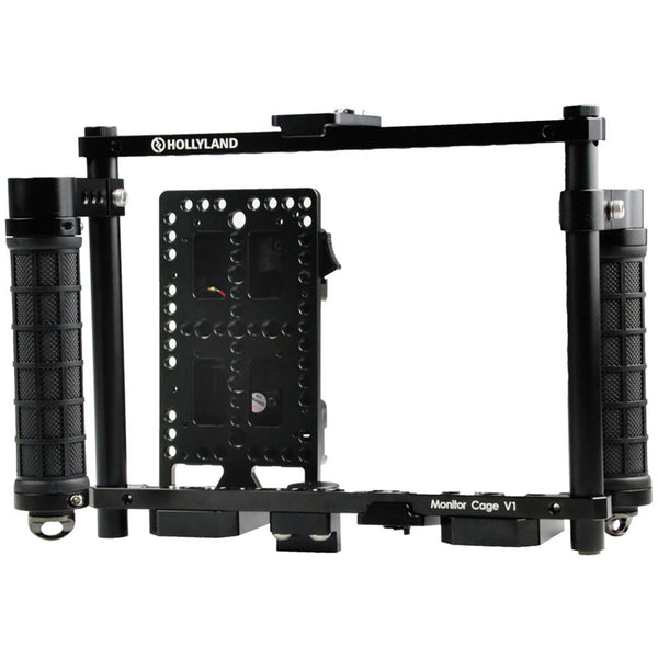 "Hollyland Monitor Cage with Rubber Handgrips for 5 to 9"" Monitors (Gold Mount)"